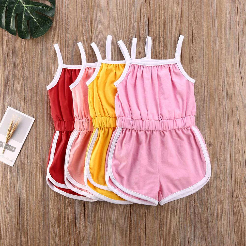 Baby Girls Boys Summer Clothing Sets Cotton Soild Candy Colors Sleeveless Jumpsuits Casual Sunsuit Outfits For  6M-5Y