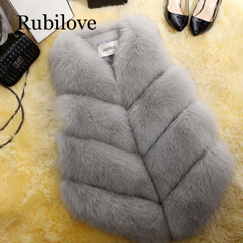 Rubilove 2019 New Fashion Fur Coat Women Plus Size Faux Gilet Waistcoat Overcoat Jacket Female