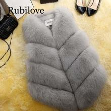 Rubilove 2019 New Fashion Fur Coat Women Plus Size Faux Fur Gilet Waistcoat Fur Gilet Overcoat Jacket Female fahion artificial fur gilet outerwear