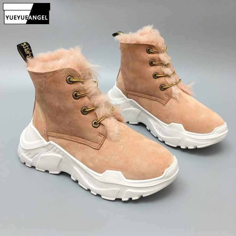 Kadın kış koyun derisi Shearling kar botları yün astar kalın platform ayakkabılar Antisikid ayakkabı artan yüksek üst yarım çizmeler