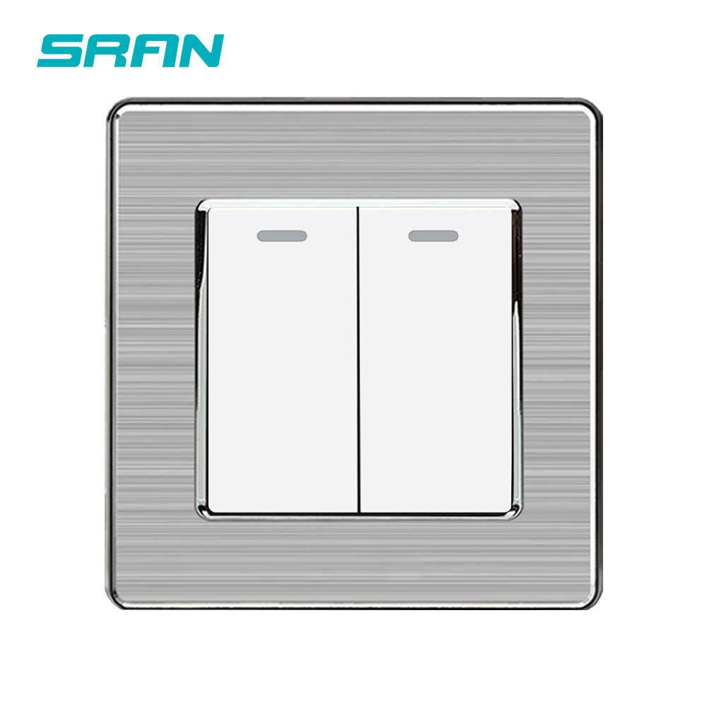 Клавишный Выключатель SRAN UK, 2 клавиши, 1 канал, 250 В, 16 А, световой выключатель из нержавеющей стали с серебристой кромкой, 86 мм * 86 мм, белый/черный/золотой