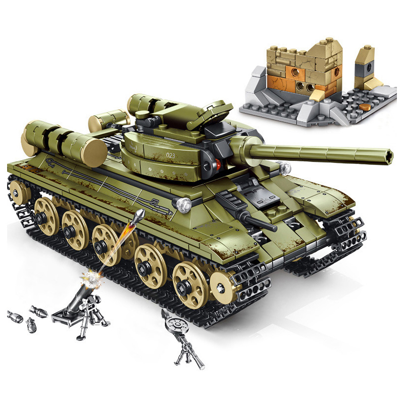 683pcs Military Soviet Steel empire Tank vehicle Building Blocks Compatible Army WW2 Soldiers Police Weapon Bricks Toys for kids