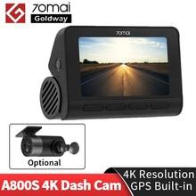 70mai Dash Cam 4k A800 Встроенный GPS ADAS двойного видения в формате 4K UHD, Кино-качество изображения 24 часа в сутки для парковочной системы DVR Камера 70 Mai ...
