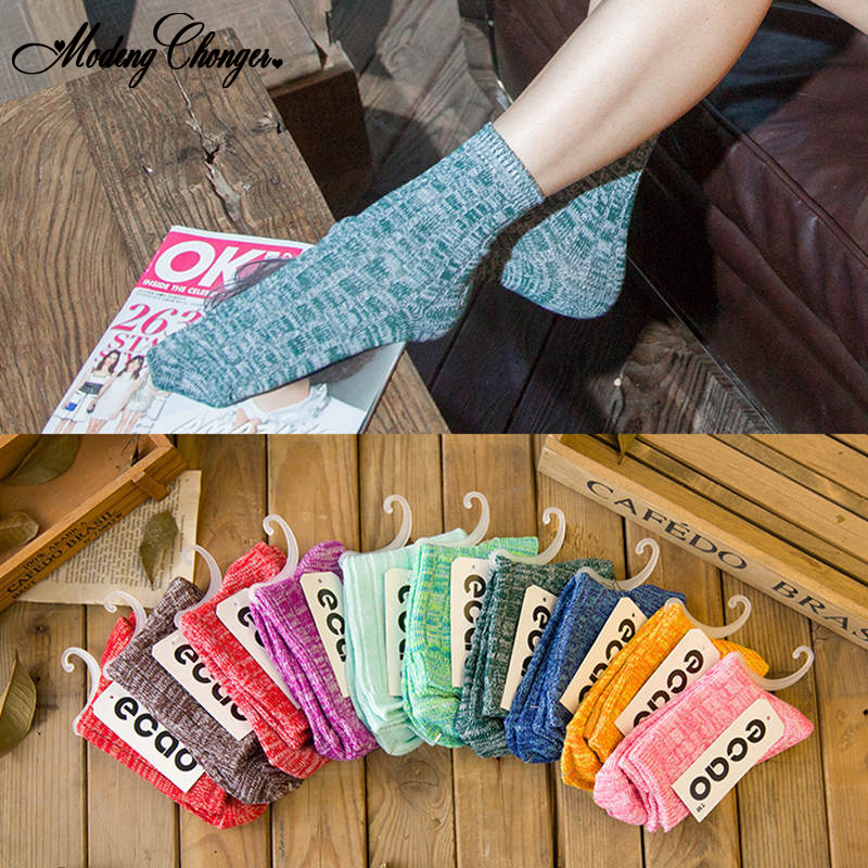 1 Pair Thick Candy Color For Autumn In College Style leisure Womens Socks Japanese Retro Ethnic Cotton Tube ladies
