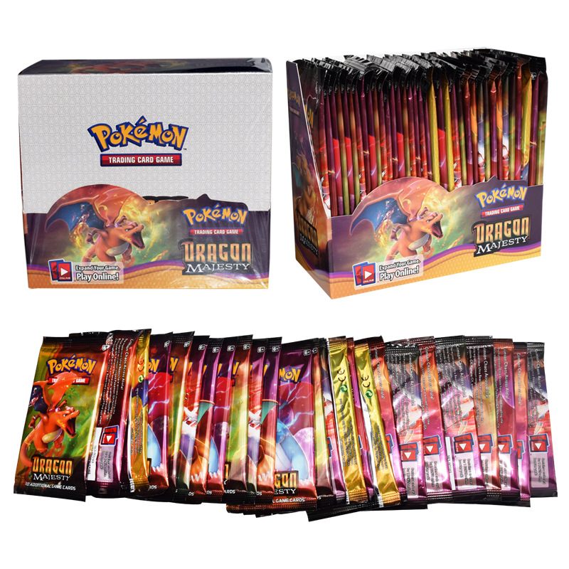 324pcs Pokemon Cards Sun & Moon Dragon Majesty Booster Box Per  Collectible Trading Cards Game Kids Toy Gift