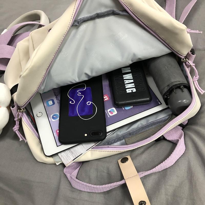 DCIMOR Lovely Multifunctional Backpack Teenage Girl Ring buckle Portable Travel Bag Female Small Schoolbag Badge Women Backpacks