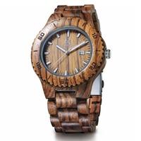 LeeEv Wooden Men's Watches Casual Quartz Watch Handmade Zebra Wood Wristwatches for Men