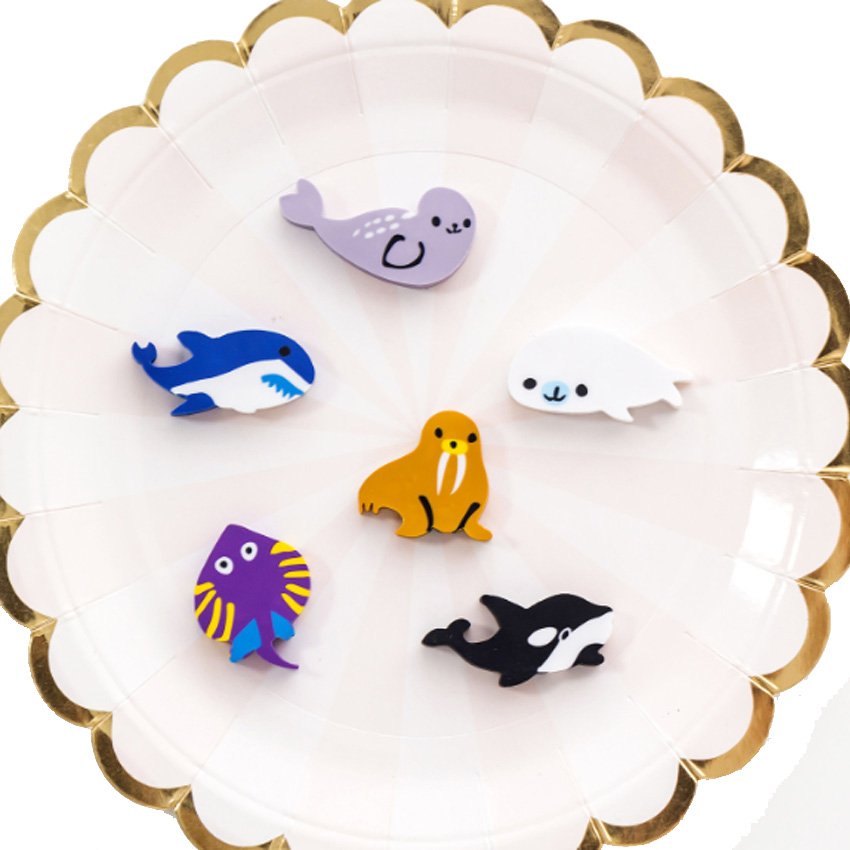 6pcs/set Happy Paradise Underwater World Sea Animals Eraser Set Stationery Office Party Supply Material Escolar Kawaii Gift