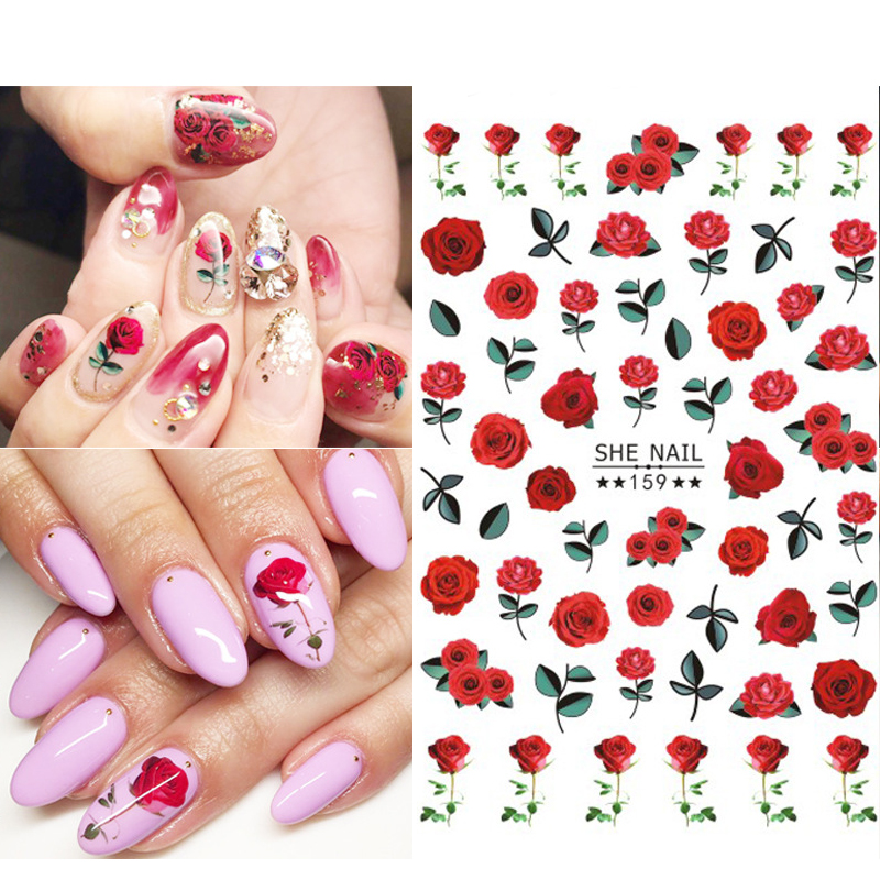 1 Pc 3D Nail Sticker Paper Flowers Rose Leaf Transfer Sticker Simple Summer Beautiful Decals Nail Art Decoration DIY Nail Wraps