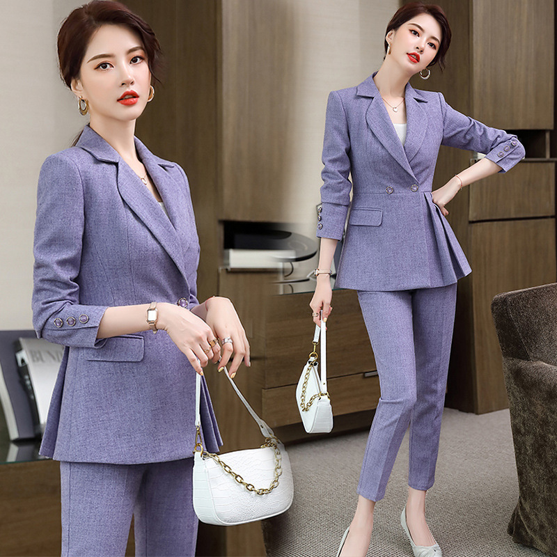 New autumn and winter plus size women's high-quality Female two-piece suit pants Temperament slim ladies jacket Casual trousers