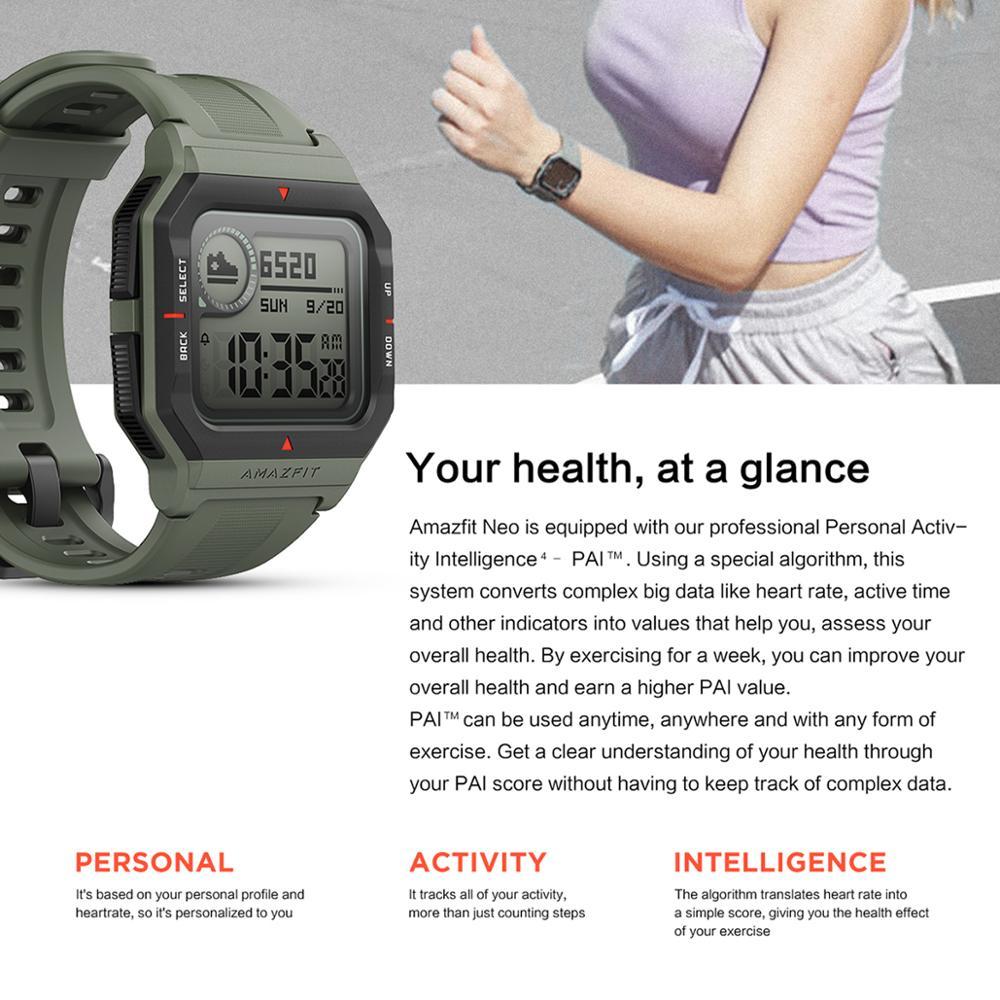 جديد 2020 Amazfit Neo ساعة ذكية Smartwatch 5ATM تتبع 28 أيام بطارية الحياة  ساعة بلوتوث متوافقة للهاتف أندرويد IOS|Smart Watches| - AliExpress
