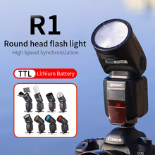 цена на TRIOPO R1 Round Head on-camera Flash 2.4G X Wireless TTL HSS 76Ws Speedlight Flash with Li-Battery for Canon Nikon(ONLY FLASH)