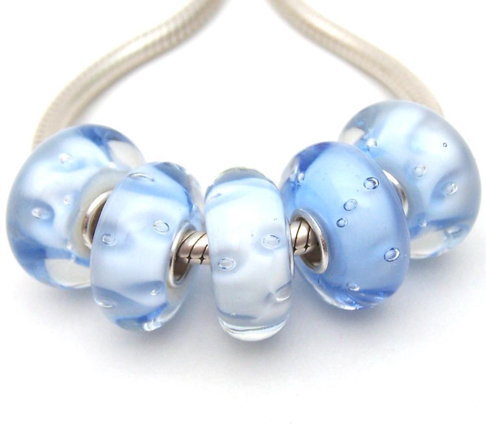5X handmade silver Murano Lampwork Glass Beads for European Charm Bracelet L74