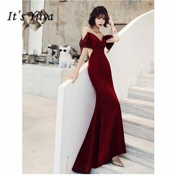 Its Yiiya Evening Dress 2019 Burgundy Short Sleeve Crystal Tassel Long Trumpet Dresses Elegant O-Neck Party Formal Gowns E1089