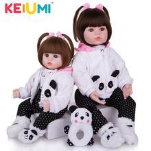 KEIUMI Реалистичная Reborn для маленьких девочек кукла ткань тела чучело реалистичные куклы игрушки одежда в виде панды, Детские Рождественские ...