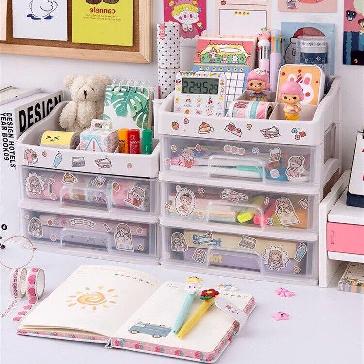Sharkbang ABS Drawer Type Desktop Organizer Notebook Pen Storage Box Makeup Lipstick Shelf School Office Accessories Stationery 3