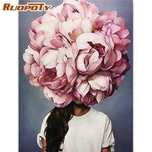 RUOPOTY – cadre de peinture à l'huile par numéros pour femmes, tableau abstrait moderne peint à la main pour maison