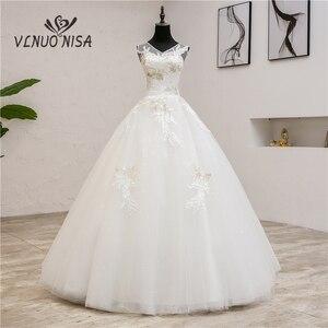 Image 1 - Vestidos de noiva moda elegante, vestidos de noiva com decote em v, novo verão, coreano, aplique, de renda, 2020 0.8