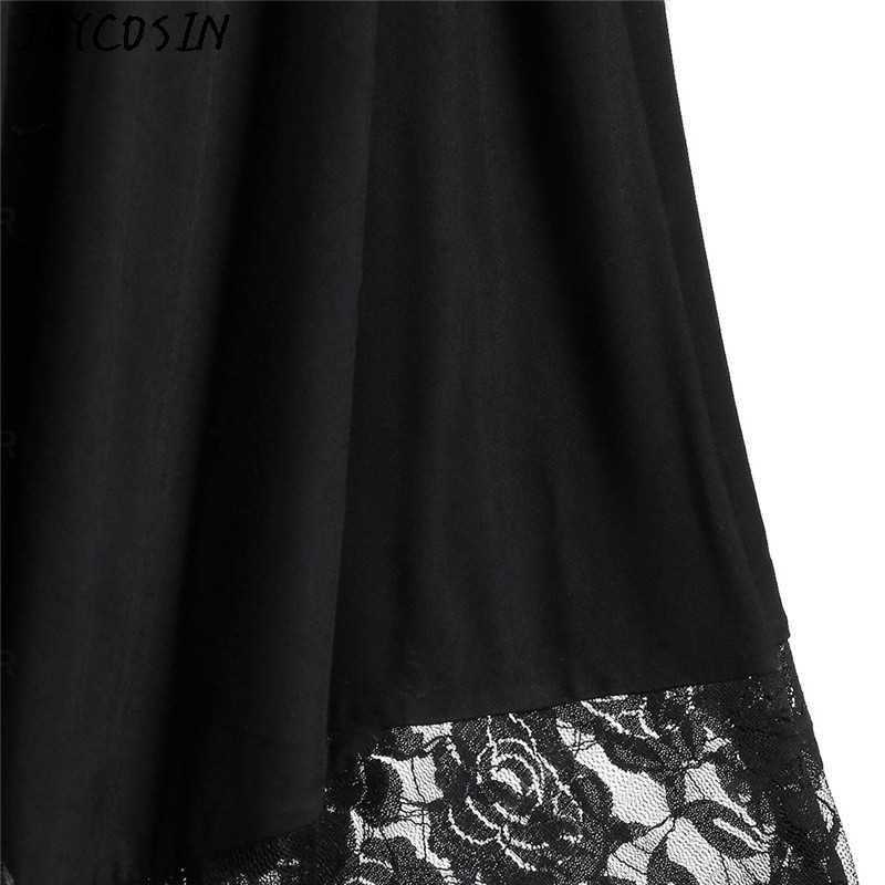 JAYCOSIN נשים שמלת ליל כל הקדושים המפלגה פתוח כתף תחרה חצי שרוול גותי שמלת אופנה נקבה סתיו חורף שמלה בתוספת גודל
