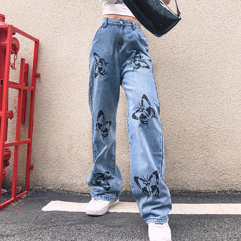 YYXZ Summer Fashion Cute Loose SML Print Butterfly Straight Jeans High Waist Woman Casual Denim Pants Lady Cotton Jeans Trousers