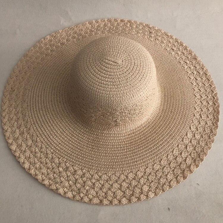 LVTZJ Summer Straw Hat Women Big Wide Brim Beach Hat Sun Hat Foldable Sun Block UV Protection Panama Hat Bone Chapeu Feminino