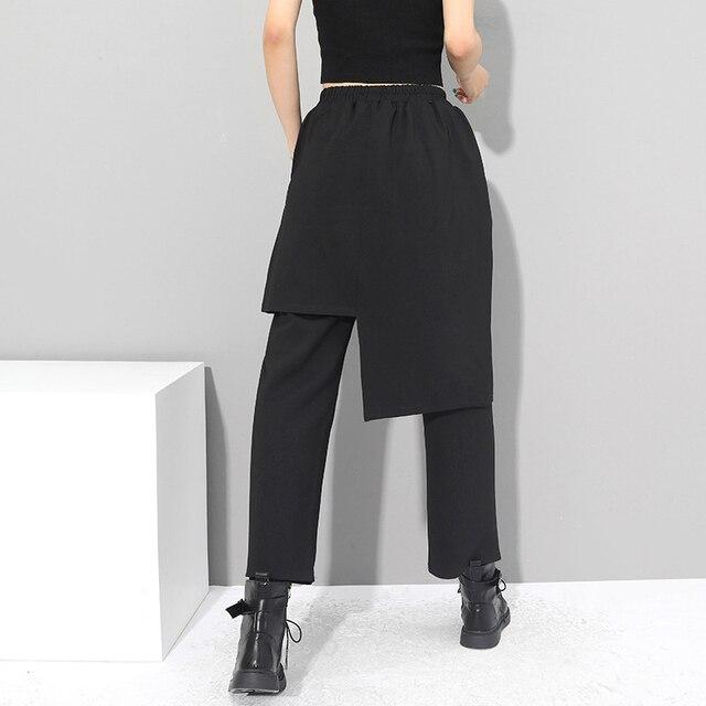 Eam Pantalones Haren Largos Irregulares Para Mujer Pantalon Holgado Con Cintura Alta Elastica Color Negro Para Primavera Y Otono 2021 1dc430 Gordanastaverna Se
