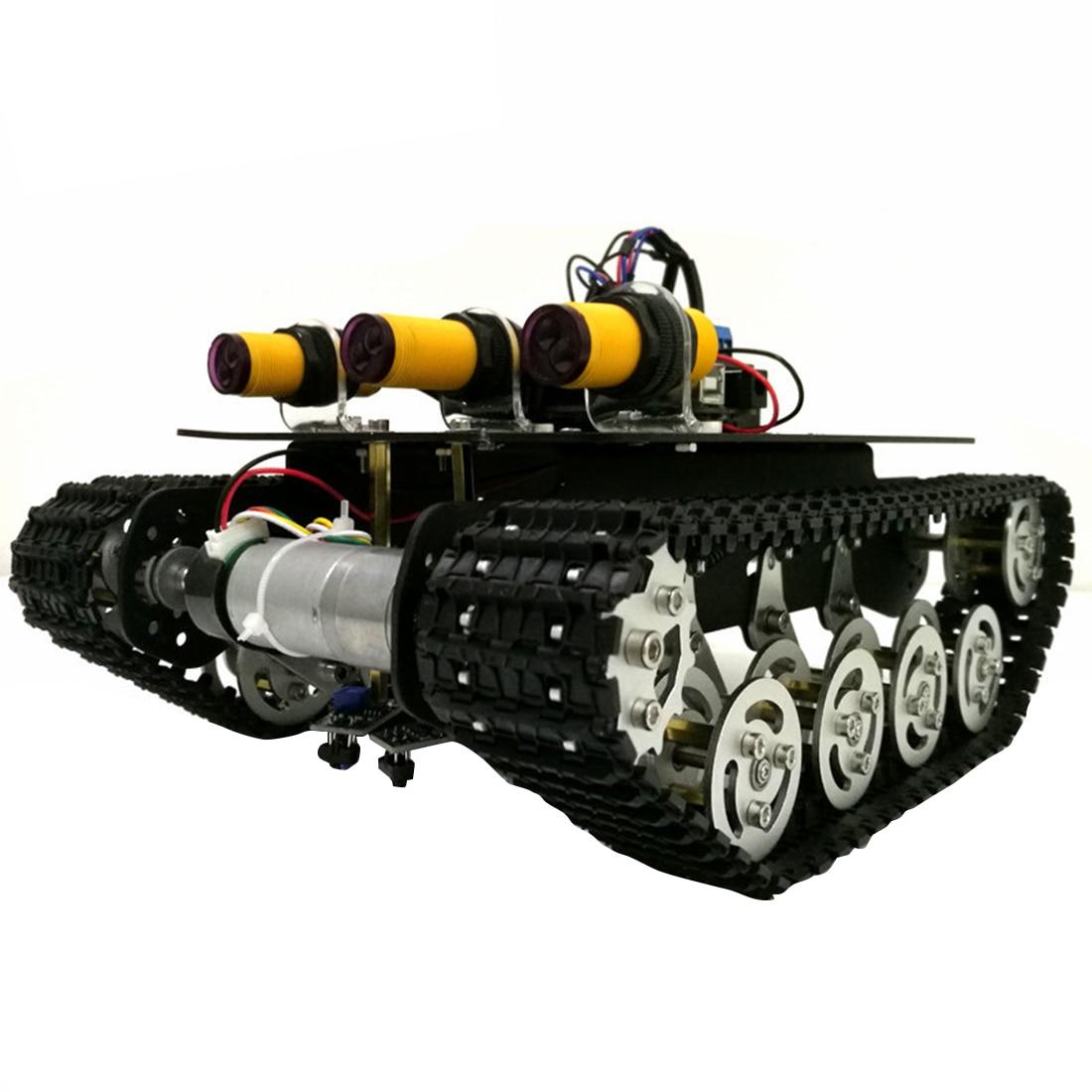 DIY Intelligent RC Car Kit Infrared Tracking Obstacle Avoidance Sensor Metal Track Shock Absorber Tank Suspension Robot Toy