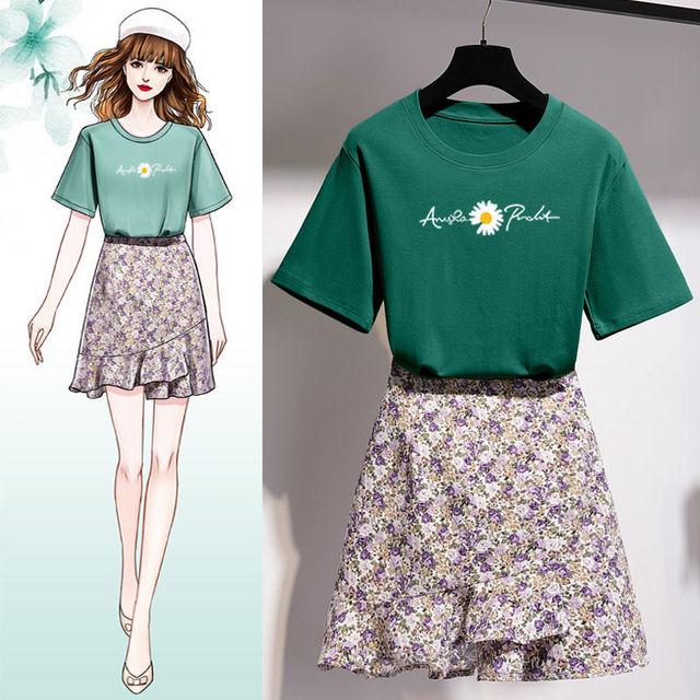 Girls Korean Sweet Daisy Print T-shirt Skirts Set Women Summer Cozy Cotton Short Sleeve Mini Dress Suit 2021 Fashion Clothing 6