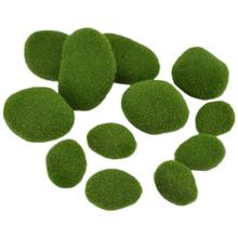 12 sztuk 3 rozmiar sztuczny mech skały ozdobna imitacja zielony mech pokryte kamienie małe środkowe duże mech Rock zielone kulki mech tanie tanio FGHGF CN (pochodzenie) Artificial Moss Stones Other Simulation Moss Ball Artificial Green Moss Stones