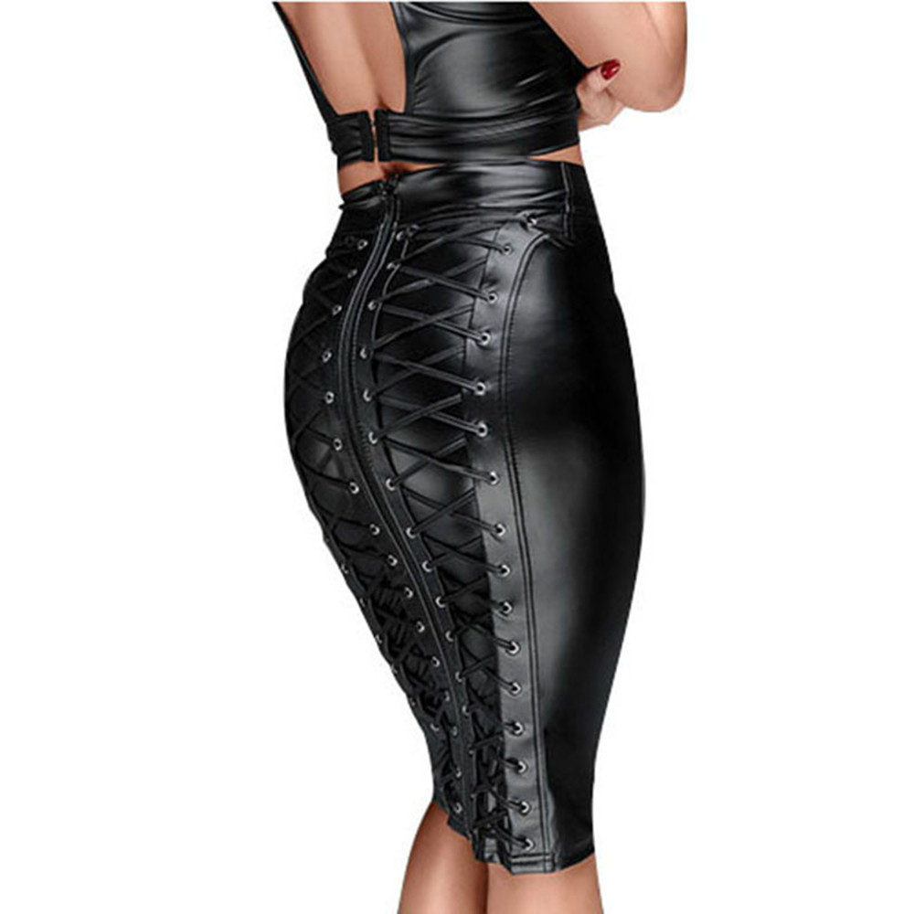 Gothic Wet Look Black Faux Leather Skirt Sexy Punk Back Zipper Lace Up Wrap Pencil Skirt 2020 Summer Bodycon Mini Skirts Womens