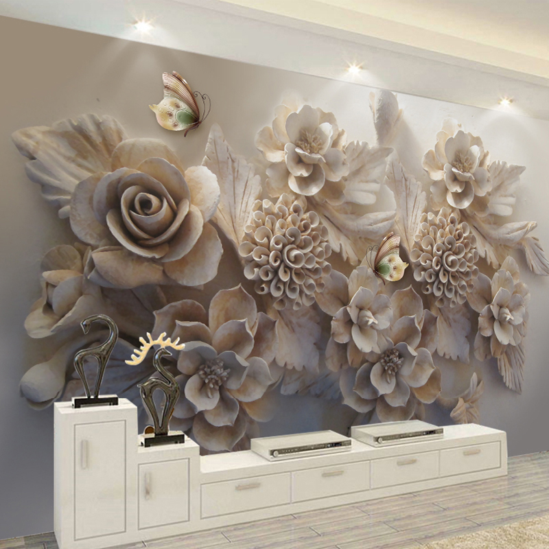 3D Custom Mural Wall Papers Stereo Relief Rose Flowers Abstract Art Wall Decor Cafe Restaurant Living Room Bedroom Wallpaper2020