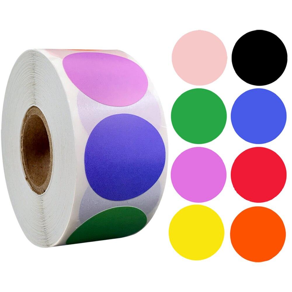 500 шт./рулон, хромные Ярлыки-наклейки 1 дюйм, красный, желтый, синий, розовый, черный