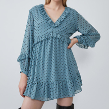 цены на KHALEE YOSE Vintage Blue Polka Dot Dress Sweet Ruffles Chiffon Mini Dresses Women 2019 Autumn V Neck Long Lantern Sleeve Dress в интернет-магазинах