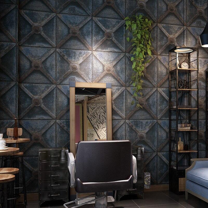 10m longue personnalité fond mur bar papier peint rétro style industriel papier peint imitation fer papier peint papel déco murale 3d
