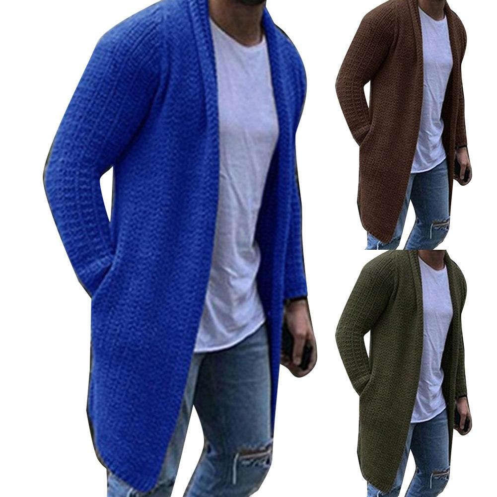 Autumn Winter Men's Long Sweatercoat Solid Color Long Sleeve Hooded Sweater Outerwear Casual Sweater Cardigan