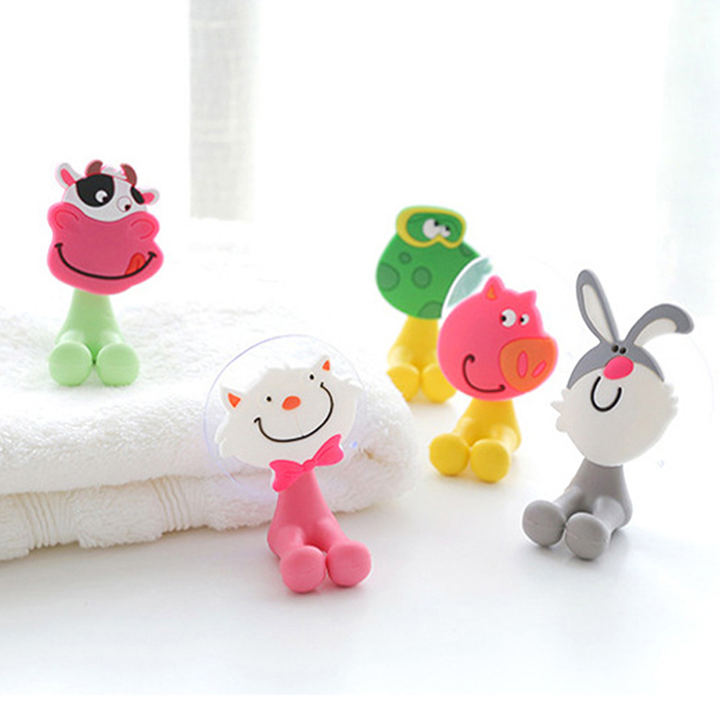 Cartoon Sucker Hook Portable Friendly Bathroom Kitchen Seamless Punching Soft Glue Vacuum Suction Cup Hook Toothbrush Holder