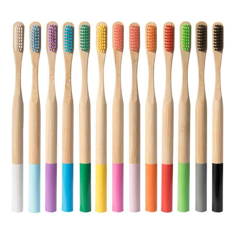 カラフルな天然竹歯ブラシマルチカラーブラシセット歯ブラシラウンド竹ハンドルソフト毛歯ブラシ大人歯ブラシ