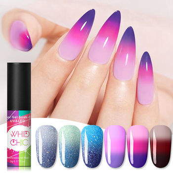 WHID CHIC Thermal Glitter Soak Off UV Gel Polish Sparkling Temperature Color-changing Varnish Gel Nail Art varnish Decor 1