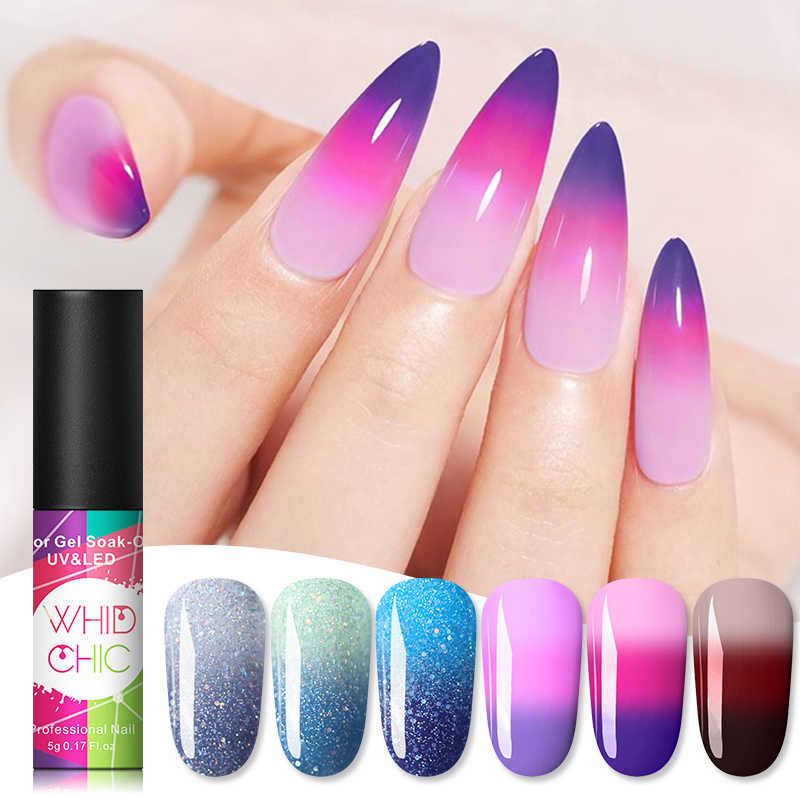 WHID CHIC térmica brillo soak off UV Gel Polish espumosos temperatura de Color cambio de barniz Gel de esmalte para decoración de uñas Decoración