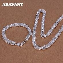 925 srebrne zestawy biżuterii dla kobiet mężczyzn 7mm Link Chain naszyjnik zestaw bransoletek biżuteria sztuczna hurt