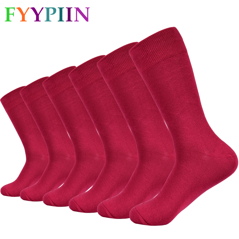 Men's Socks Solid Color Combed Cotton Socks Red Long Fashion Paired Casual Socks Men