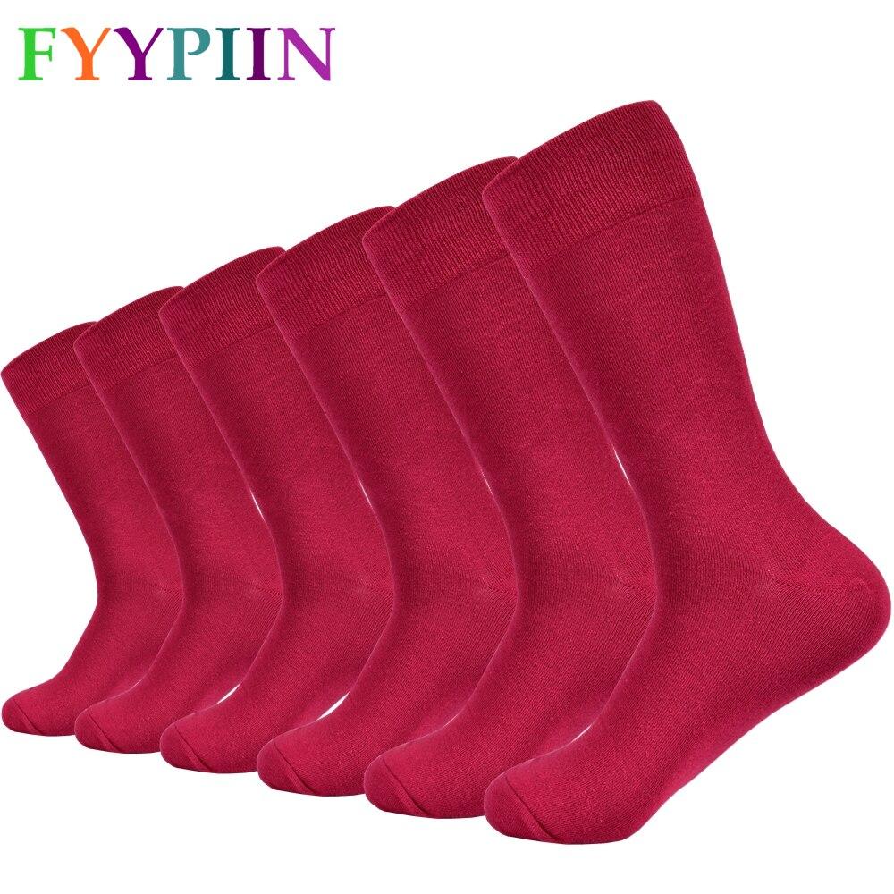 Мужские носки, однотонные носки из чесаного хлопка, красные длинные модные парные повседневные носки для мужчин