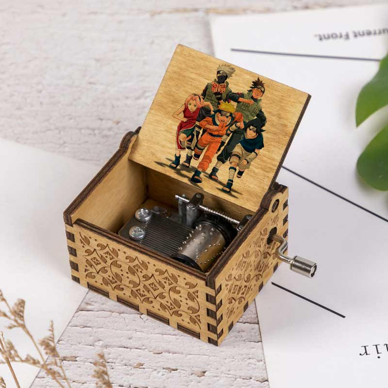 Naruto Print Music Box Kakashi Uchiha Itachi Hand Cranked Wood Music Box Castle In The Sky Music Christmas Gift