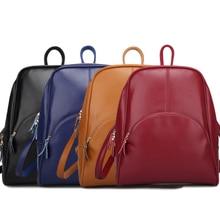 Cowhide Backpack Travel-Bags Soft-Shoulder-Bag Women Ladies New-Fashion Zipper Wild PU