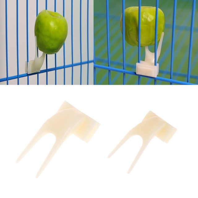 2 Pcs Birds Parrots Plastic Fruit Fork Pet Supplies Food Feeding On Cage Pet birds Supplies 2size Bird cage accessories Supplies 2