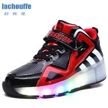 Детский светодиодный светильник; кроссовки с двумя колесами для мальчиков и девочек; роликовые коньки с USB; прогулочная обувь; светящаяся обувь; Детская уличная обувь