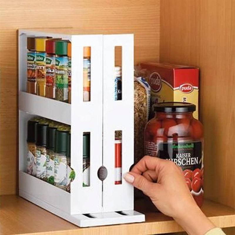 Kitchen Spice Organizer Rack Multi-Function Rotating Storage Shelf Slide Kitchen Cabinet Cupboard Organizer Kitchen Storage Rack