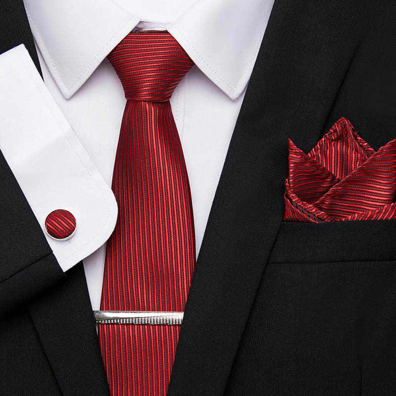Classica Cravatta Gli Uomini 7.5 centimetri 100% Di Seta Rossa Cravatta Fazzoletto Cuffink Tie Clip Cravatta Set Floreale Cravatta della Festa Nuziale Del Regalo
