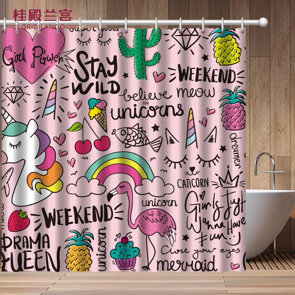 Cartoon Pink Flamingo Unicorn Shower Curtain Waterproof Polyster Dinosaur Printed Bathroom Curtain Decoration For Kids Adults Shower Curtains Aliexpress