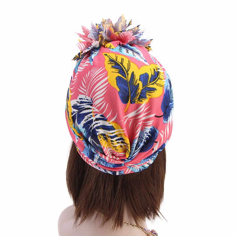 Helisopus Модные женские тюрбан цветочный принт скрученный узел Индия Кепка chemo дамы мусульманский тюрбан банданы аксессуары для волос